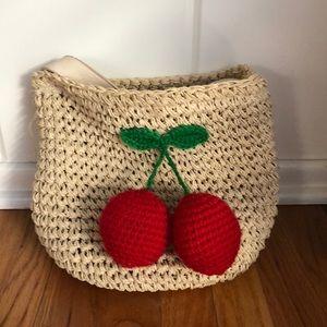 ▪️straw cherry 🍒 crochet bag▪️vintage fruit tote